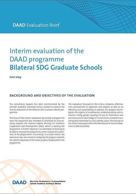 DAAD Evaluation BRIEF-Version: Interim evaluation of the DAAD programme Bilateral SDG Graduate Schools